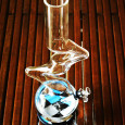 Squares PipePadz on Water PIpe. Removable & Reusable Sticky PipePadz™ Protects Your Glass!